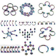 Mix Piercing Wholesale 60Pcs/lot Stainless Steel Eyebrow Lip Labret Body Jewelry Tunnels Ear Tragus Tongue