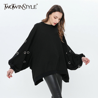 TWOTWINSTYLE Hole Pullover Female O Neck Lantern Sleeve Irregular Big Size Black Hoody For Women 2018