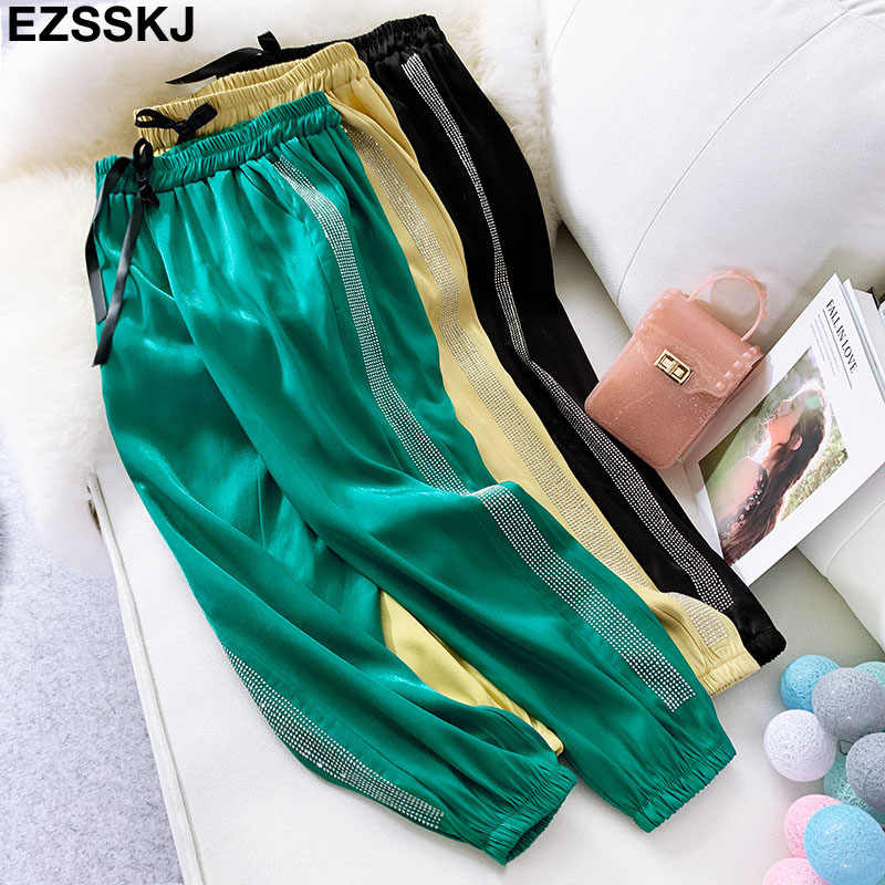 European 2019 spring summer Trousers new fashion heavy work hot drilling harem pants women casual sequined diamond sports pants
