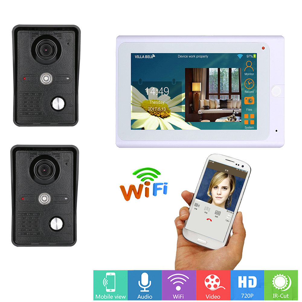7inch Wired Wifi IP Video Door Phone Doorbell Intercom Entry System With 2PCS IR-CUT HD 1000TVL Camera With Recording Function