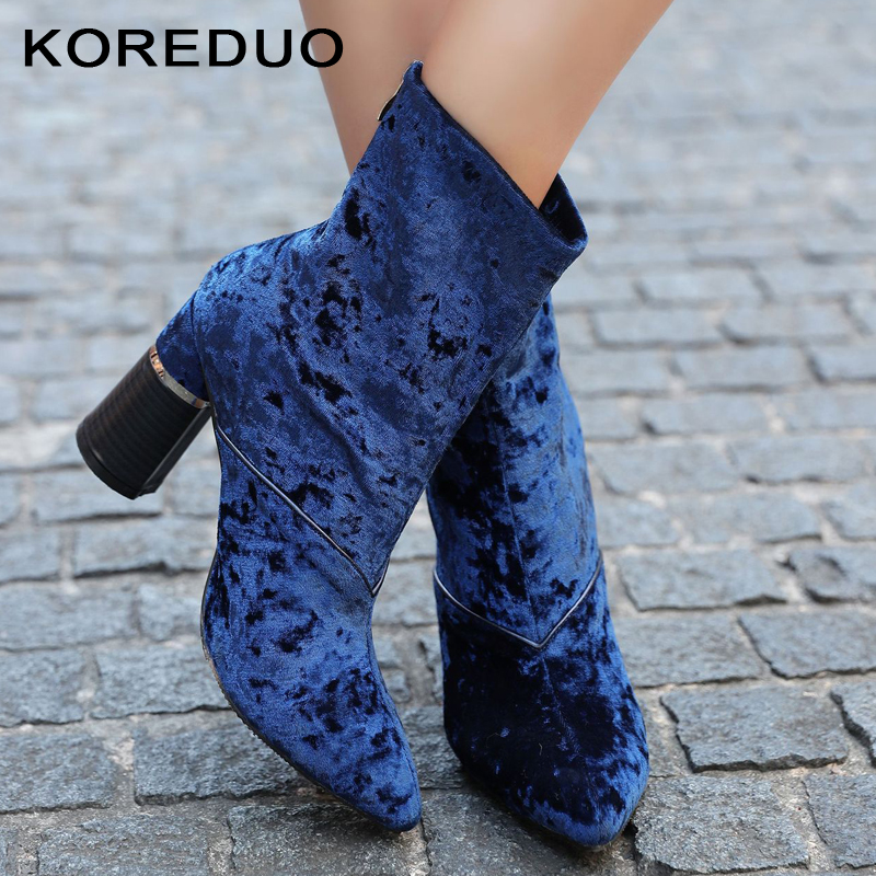 KOREDUO New Women Velvet Sock Boots Pointed Toe Elastic Chunky Boots Slip on High Heel Ankle Boots Women Pumps Stiletto Botas mw fashion catwalk pointed toe ankle boots for women candy color satin sock booties stiletto heel slip on botas mujer