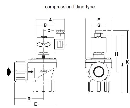 """ASCO обратный электромагнитный клапан SCG353A043 3/"""" DN20 алюминиевый DC24V AC220V"""