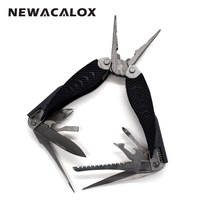 NEWACALOX 14 in 1 Fishing Plier Multifunction Folding Hunting Pocket Hand Survival Knive Multi Tool Set Stainless Steel Portable
