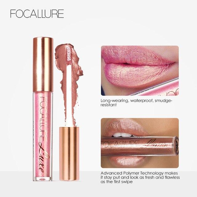 FOCALLURE Waterproof Batom Glitter Matte Lipstick Lip Stick Long Lasting Lip Gloss Beauty Cosmetic Glitter Tint Lip 4