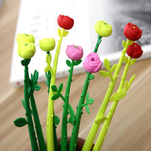 Novelty Rubber simulation 3 color rose 0.5mm gel pen Student writing black gel pen supplies Office School Stationery pen 1 pcs cute simulation unicorn animal gel pen student stationery novelty gift school material office supplies