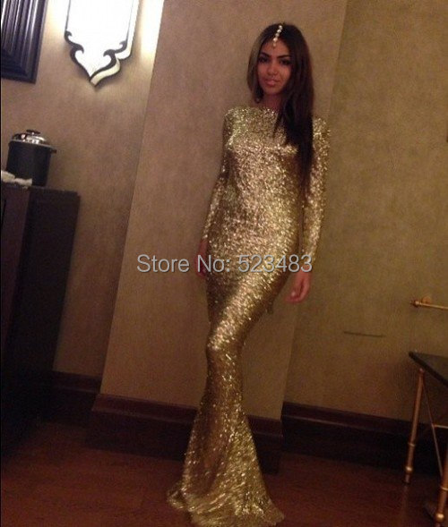 Pretty Classy Modest Winter Evening Dress Women Sequined Gold Dresses  Online Prom Party Dresses with Long Sleeves Floor Length ba01ae500f