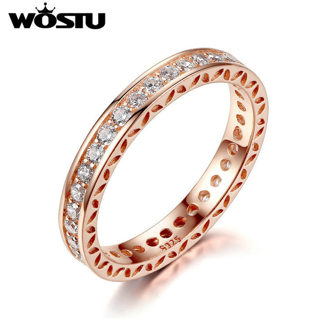 WOSTU Hot Sale Gold Color Rings With Clear CZ For Women Compatible With Original