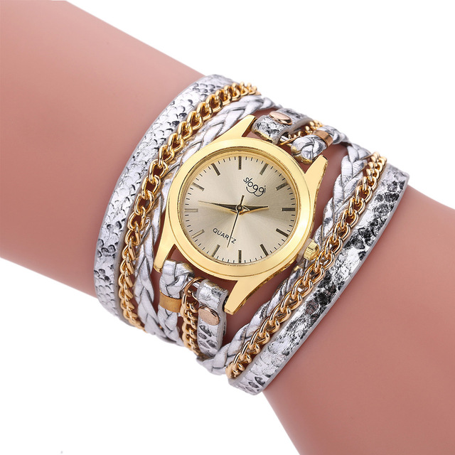 Casual Vintage Women Watch leather Strap Bracelet Watch Ladies Quartz Watch Gold