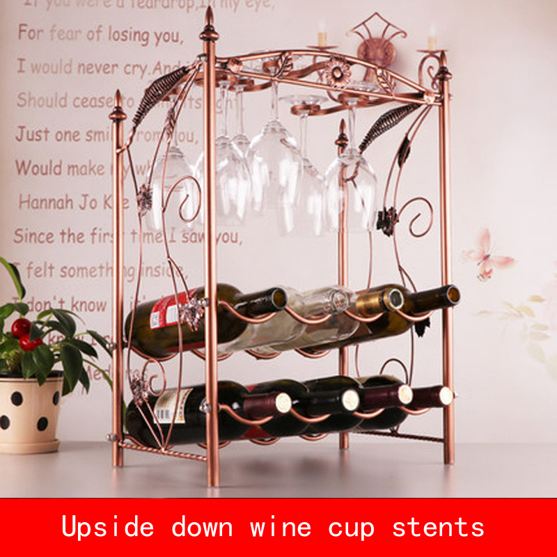 retro Electroplate Red wine and cup upside down stents bronze color metal bracketretro Electroplate Red wine and cup upside down stents bronze color metal bracket