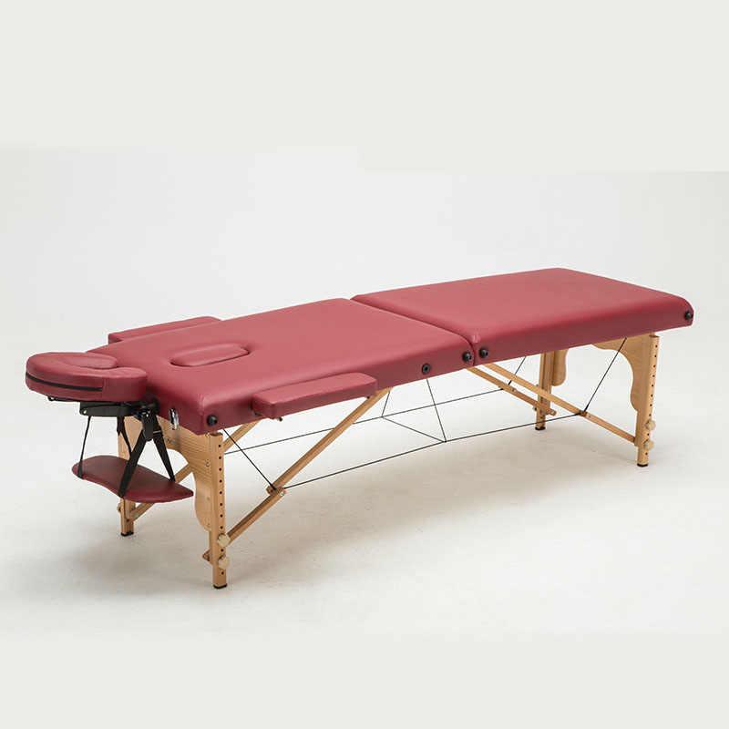Складной Салон красоты регулируемая высота тела спа для массажной кровати терапии Лежанка для татуировки с сумкой бука + импортированы PU
