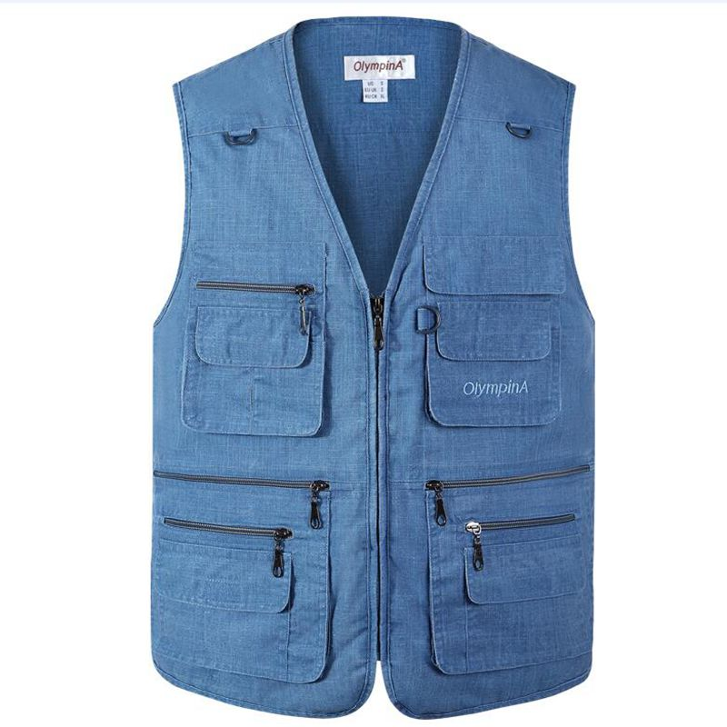 New Photography Vests Man Cotton Casual Wasitcoat For Men Vest With Many Pockets Summer For Men Zipper Regular Men's Sweatshirts