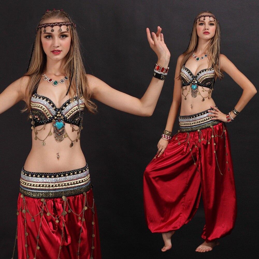 Handmade Tribal Bra Belt Costume Set Women ATS Outfit Professional Dancewear Tribal Belly Dance Costumes Set