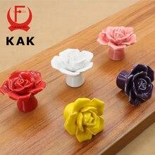 KAK Ceramic Flower Rose Drawer Knobs Rural Cabinet Cupboard handles 41mm diameter 34mm height Fashion Furniture Handles Hardware