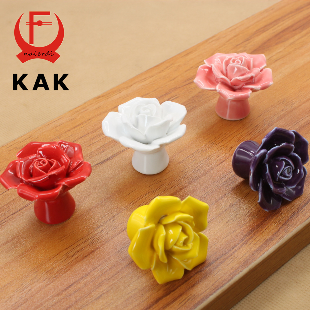 KAK Ceramic Flower Rose Drawer Knobs Rural Cabinet Cupboard handles 41mm diameter 34mm height Fashion Furniture Handles Hardware