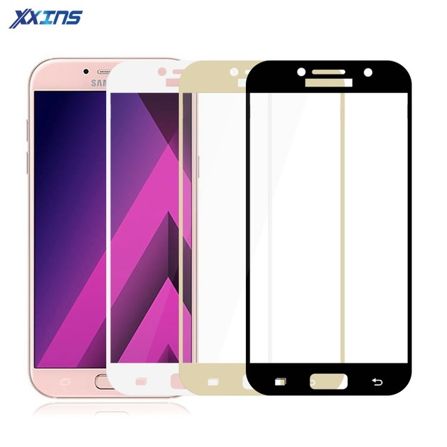 Full Cover Tempered Glass For Samsung Galaxy A3 A5 A7 2017 2016 A310 A320 A510 A520 phone Screen protective BLACK WHITE GOLD