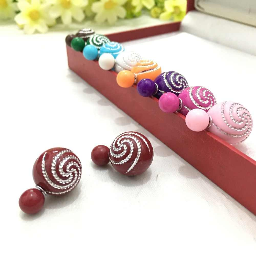 2017 New Arrival Fashion candy color dot swirl design double ball earrings for women  4ED219
