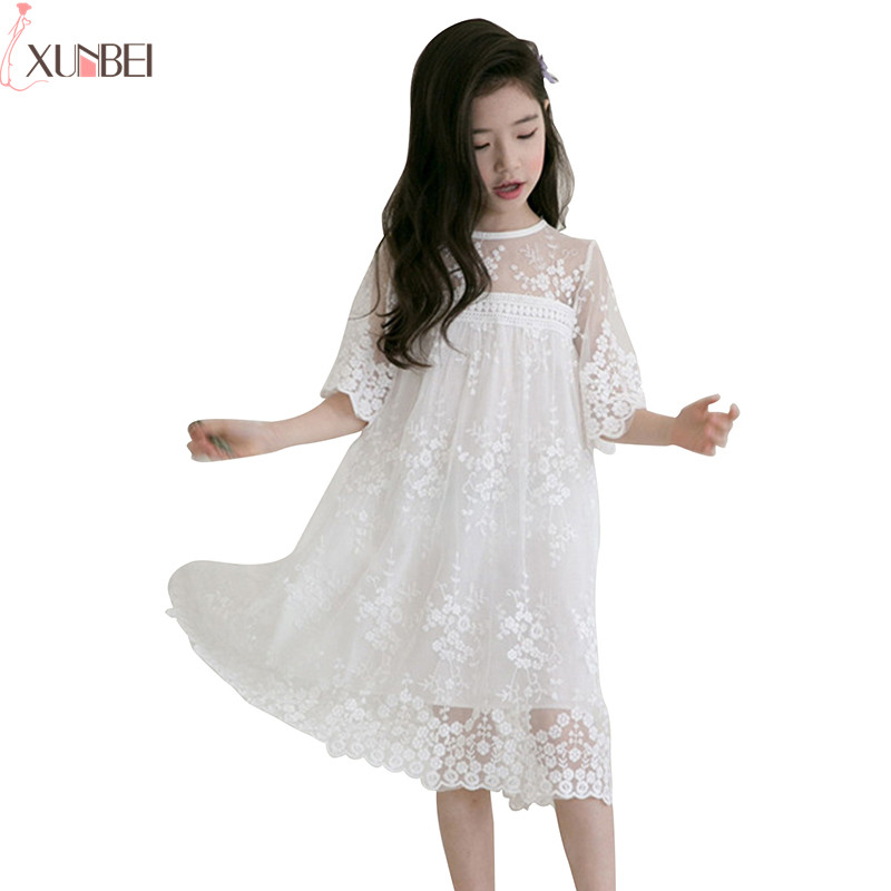 Lovely White   Flower     Girl     Dresses   Lace 2019 Pageant   Dresses   For   Girls   Kids First Communion   Dresses   robe de mariage enfant fille