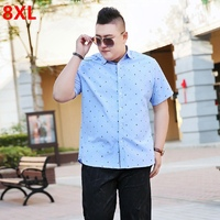 Shirt Men S Large Size Short Sleeves Tidal Fat Plus Fertilizer To Increase Youth Loose Summer