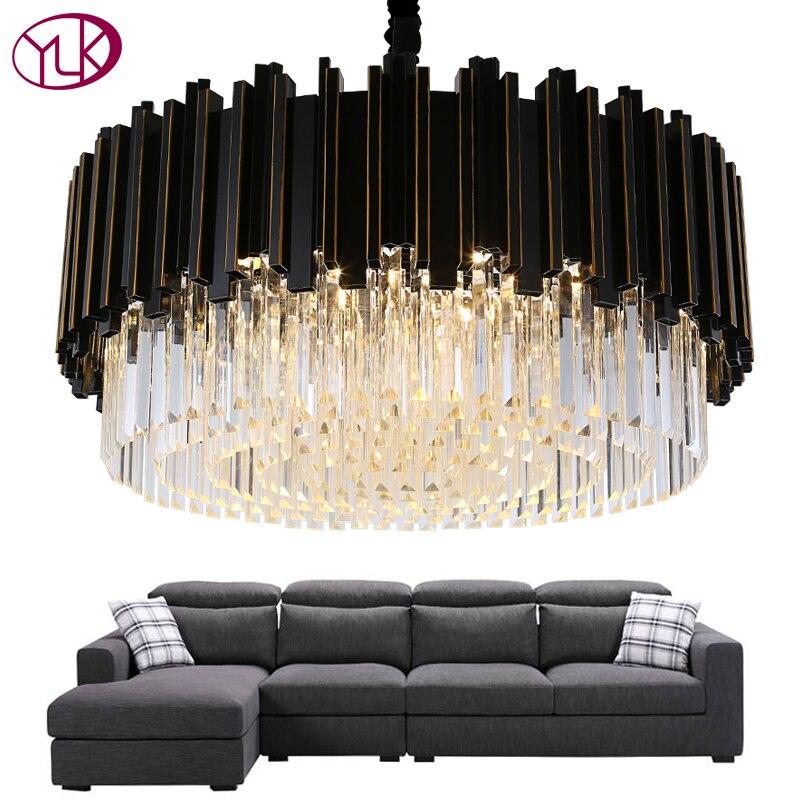 Iluminación de araña negra de lujo Youlaike lámpara de Cristal moderna redonda sala de estar comedor LED Cristal Lustre