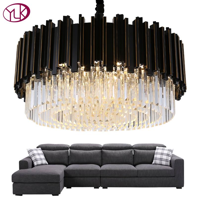 Youlaike luxe noir Lustre éclairage rond moderne Cristal lampe salon salle à manger LED Cristal Lustre