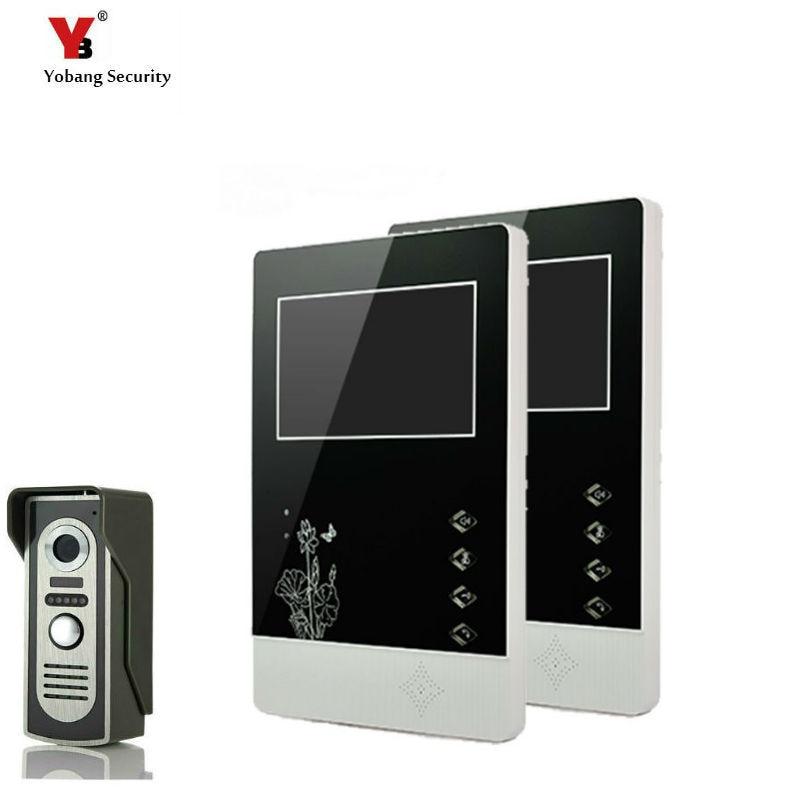 Yobang Security 4.3 Inches HD Doorbell Camera Video Intercom Door Phone System Security Camera Intercom Door Bell With 2 Monitor