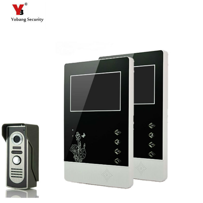 Yobang Security 4.3 Inches HD Doorbell Camera Video Intercom Door Phone System Security Camera Intercom Door Bell With 2 Monitor
