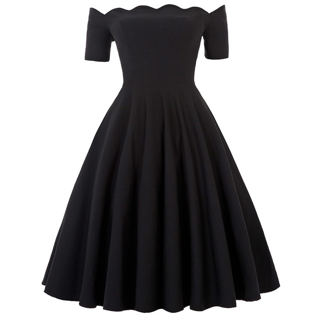 1e6b448bb1d Sexy Off Shoulder Black Dresses Women Summer Vintage 50s 60s Rockabilly  Casual Dress Audrey Hepburn Vestidos