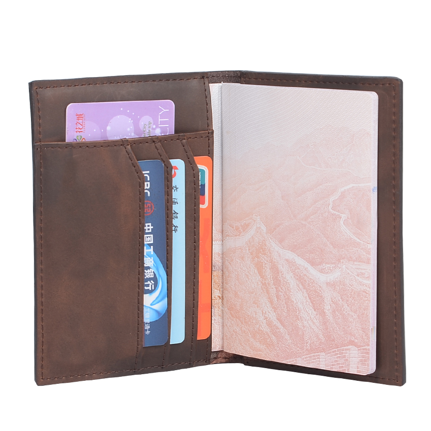 Hot Sale Men Passport Covers Solid Credit Id Card Folders Handmade Passports Holder Case Travel Accessories Passport Wallets