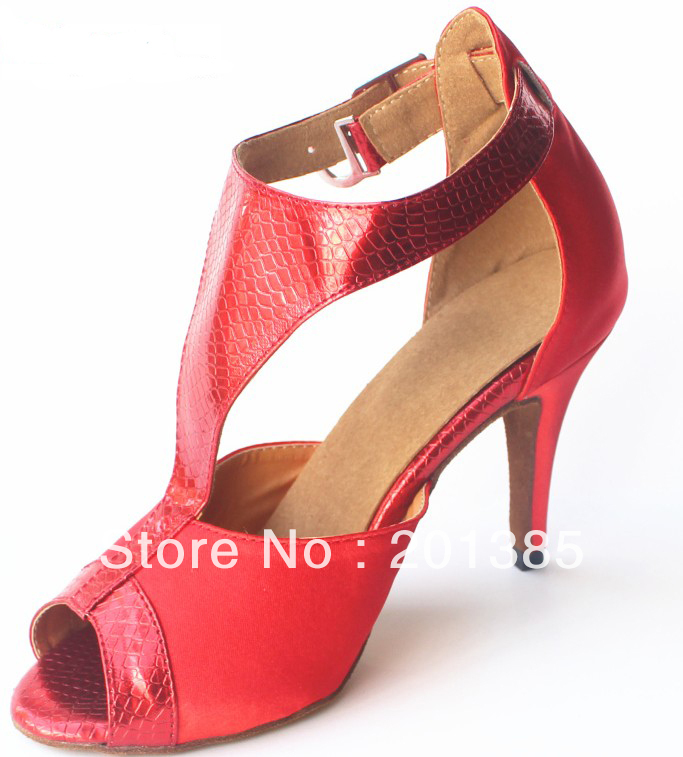 Wholesale Red Satin T-Straps Dancing Shoes for Women Latin Salsa Ballroom Shoes Size 35,36,37,38,39,40,41