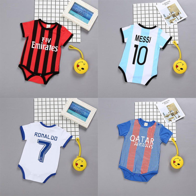 Summer   Rompers   Sports Football Baby boy Girls Short Sleeve Clothes Newborn baby Photography Props