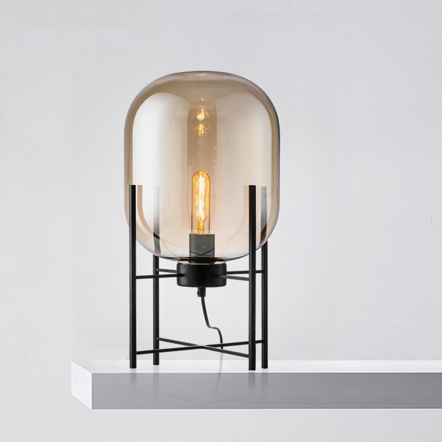 Modern Glass Table Lamp LED Bedroom Bedside Lamp Art Deco Nordic Four  Tripod Table Light Abajur Living Room Lighting Fixtures