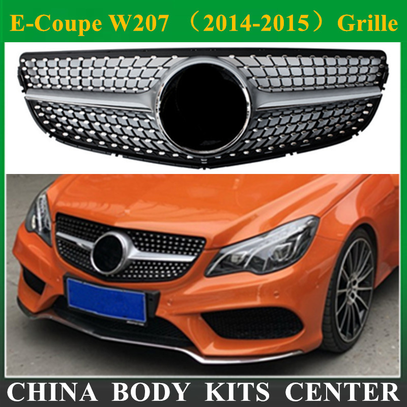 E Coupe W207 Diamond Grille Mesh ABS Front Grill font b Replacement b font Silver Color