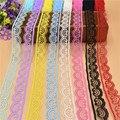 10 yardas de encaje hermosa cinta 22 MM de encaje de tela de encaje blanco bordado adornos para coser y accesorios de decoración