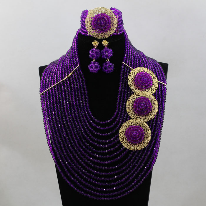 Shining Marvelous Nigeria Beads Fashional African Wedding Set Unique Design New Arrival Large Stock Free Shipping