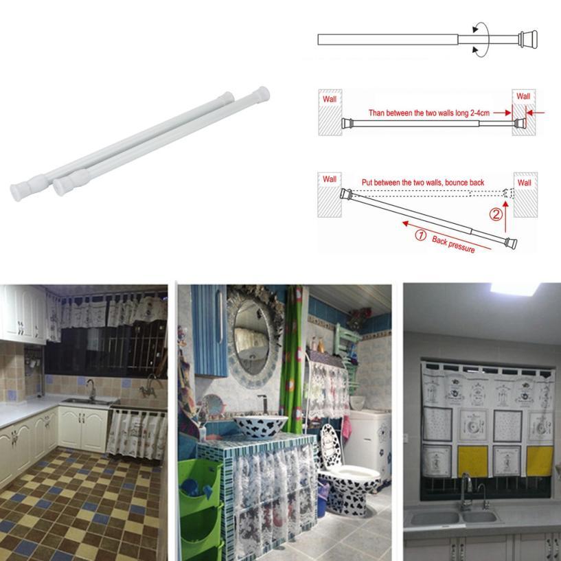 Adjustable18-50cm Shower/Wardrobe Curtain Hanging Rods Sticks Pole Loaded Hanger Organizador Organizer Holder Rack