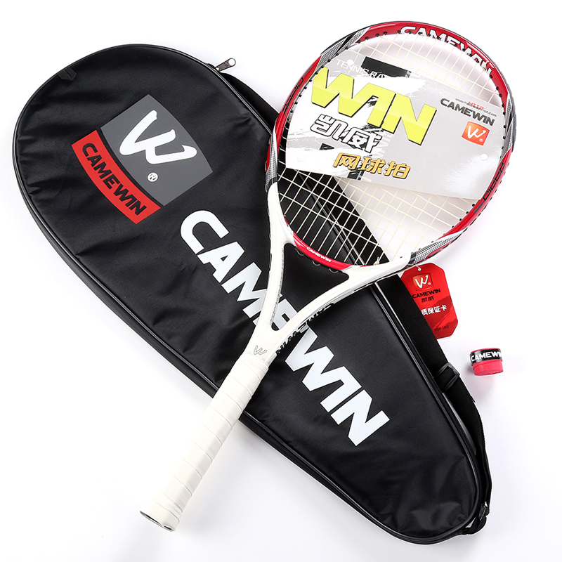 CAMEWIN RAPID Carbon Fiber Tennis Racket Graphite Grip Size L3(4 3/8) Strung Weight About 300g+/-5g  With Cover Bag Over Grip