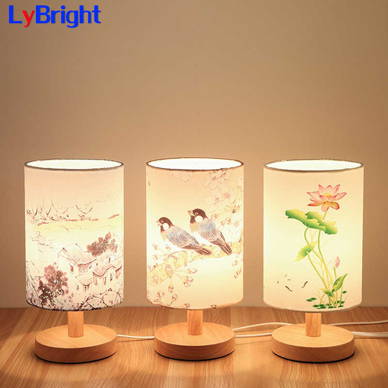 Modern Table Light AC 90-260V Creative Personality Wood Wooden Table Lamp For Living Room Bedroom Bedside Study Room Home Decor