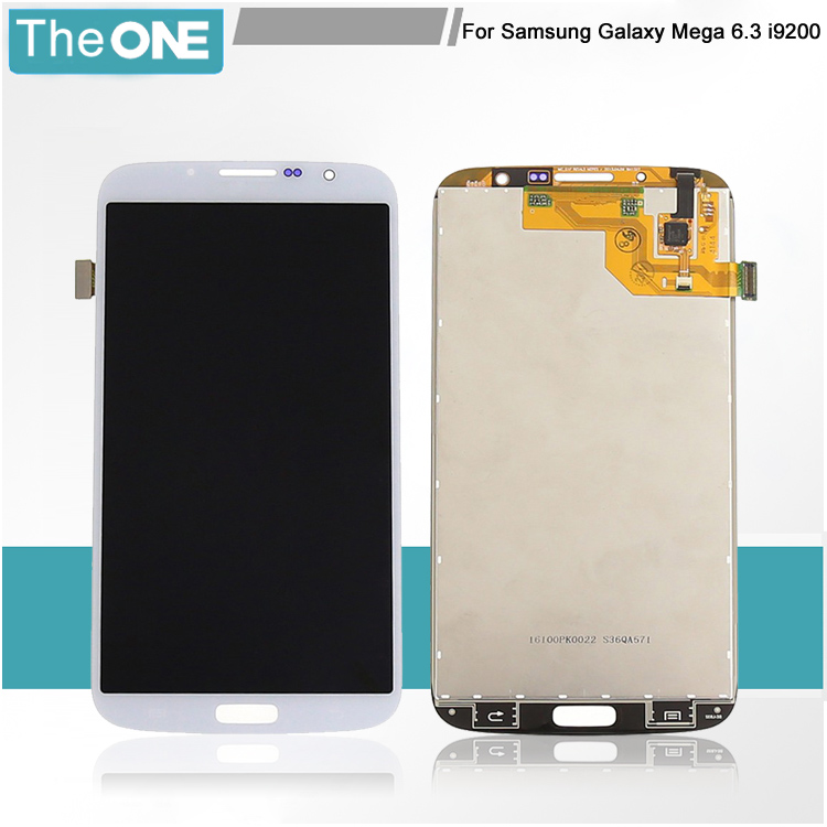 ФОТО Black/White LCD Display Digitizer for Samsung Mega 6.3 i9200+Touch Screen Digitizer With LOGO For Samsung Galaxy Mega 6.3 i9200
