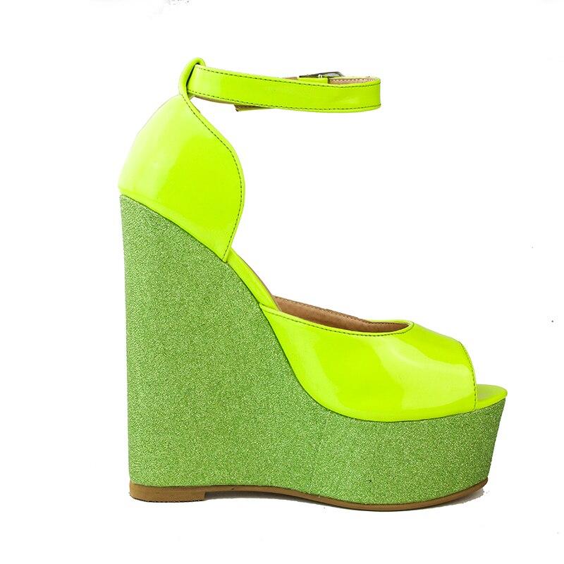15 Yellow Original Ef0059 Sexy Intencion Super Open Us Cuñas Purpurina Plus Toe 4 Sandalias Shoes Size Moda Gorgeous Woman Mujer xUxPHrw