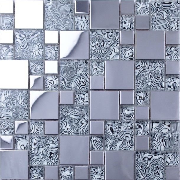 Light Gray Gl Mixed Silver Stainless Steel Metal Mosaic For Kitchen Backsplash Tile Bathroom Shower Tiles Border In Wall Stickers From Home