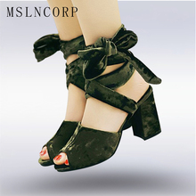 Plus Size 34-48 New Fashion Women Sandals Gladiator Mid Squre High Heels Summer Casual Cross tied Ankle Strap Flock Pumps shoes недорого