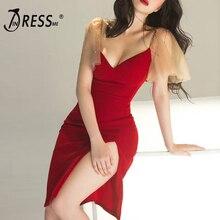 INDRESSME 2019 New Spaghetti Strap V Neck Women Party Club Bandage Dress Short Puff Sleeve Knee Length Split Vestidos