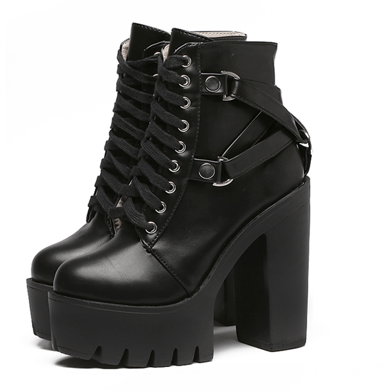Fashion snow Boots Women Heel Spring Autumn Lace-up Soft Leather Platform Shoes Woman Party Ankle Boots High Heels shoes YMA523