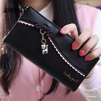 Cute Cat Women Wallet Leather Coin Purses Bowknot Design Flower Money Pouch Bow Tassel Brand New