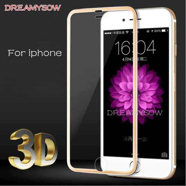 new arrival 9fd17 f2380 US $0.96 29% OFF|DREAMYSOW Full Cover 3D Tempered Glass For iPhone 8 Plus X  Screen Protector 3D Curved Round Edge RoseGold Silver Black Red-in Phone ...