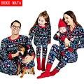 Beke mata familia pijamas de navidad de invierno 2016 juego ocasional madre padre hija hijo ropa set family look clothing