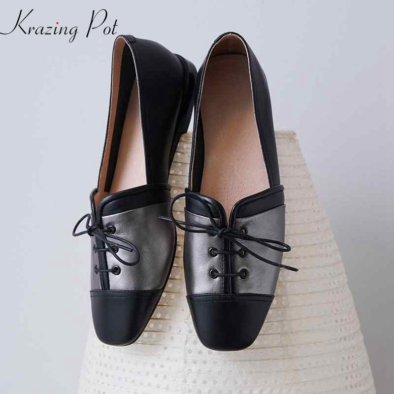 Krazing pot full grain leather women brand flats square toe elegant lace up bowtie butterfly knot