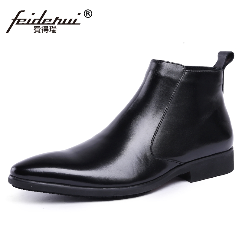 Classic Italian Designer Man High-Top Riding Shoes Genuine Leather Pointed Men's Martin Cowboy Formal Wedding Ankle Boots JS67 2016 new spring 100% real genuine leather formal brand man italian ankle boots men s slip on cowboy rubber shoes gl282