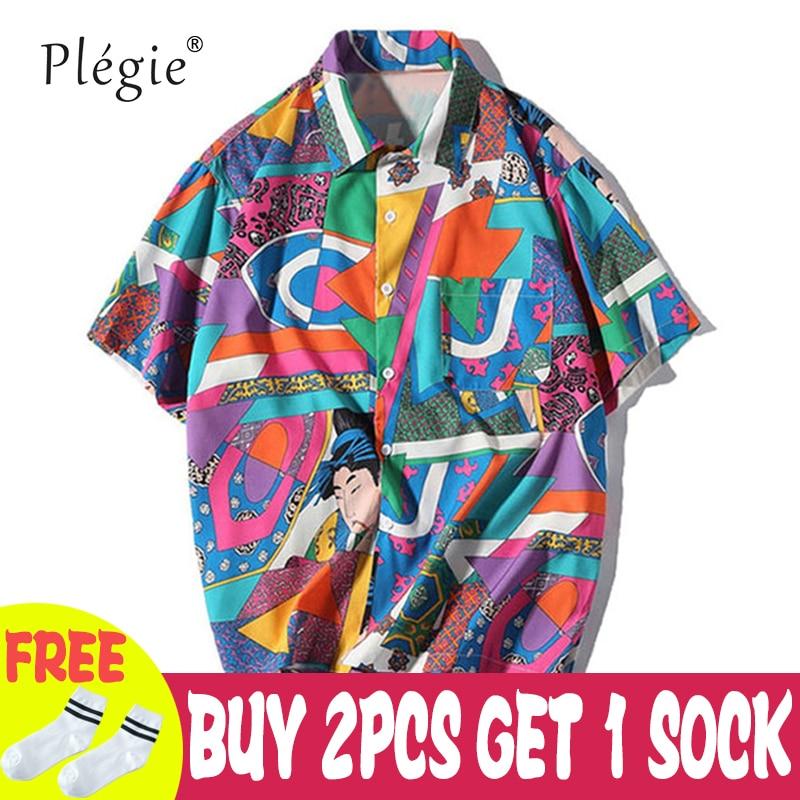 Plegie Unisex Short Sleeve Shirt Men Hip Hop Japanese Street