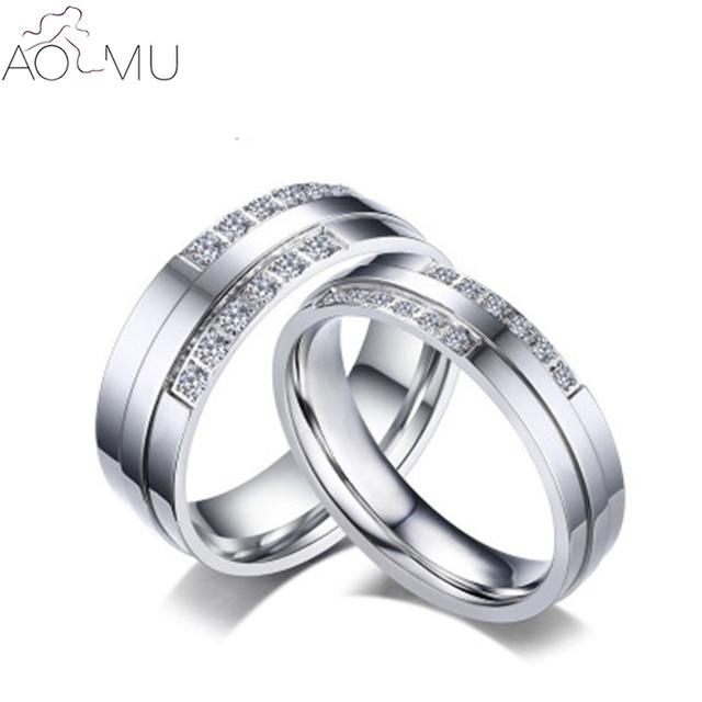 Aomu Titanium Steel Zircon Square Couple Rings For Women Men